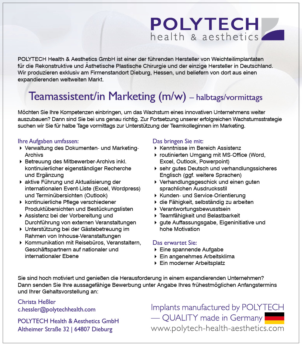 Stelle TeamassistentinMarketing